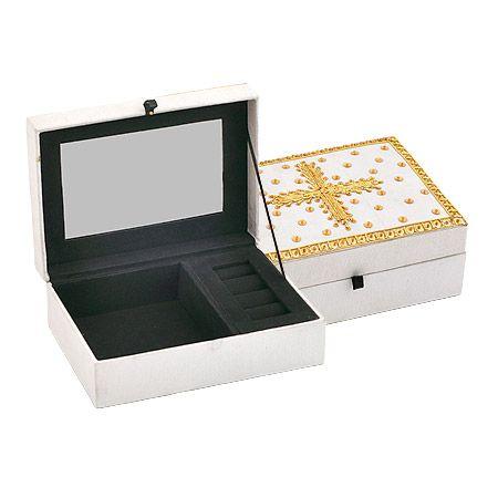 Кутия за бижута етно бяло със златно