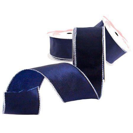 Лента синьо сребрист кант 38мм. - цена на едро