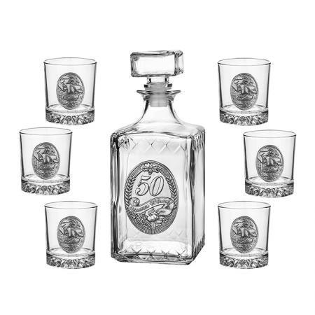 Сет бутилка 50 год. + 6 чаши кораб