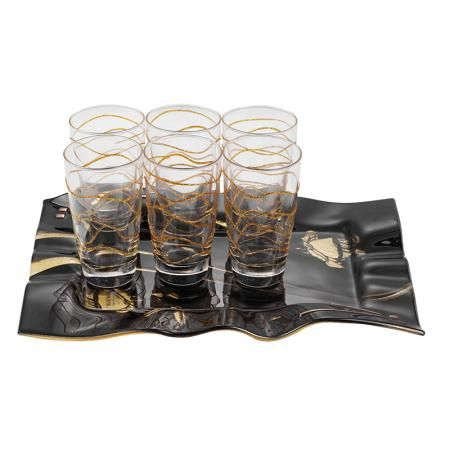 Gold Rose чаши за вода + поднос