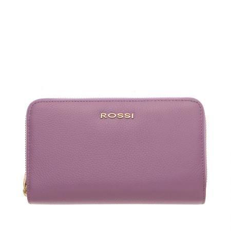 Дамско портмоне с двоен цип цвят Лавандула Шагрен ROSSI