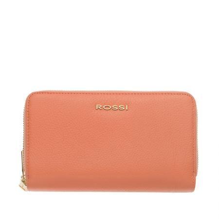 Дамско портмоне с двоен цип цвят Праскова Шагрен ROSSI