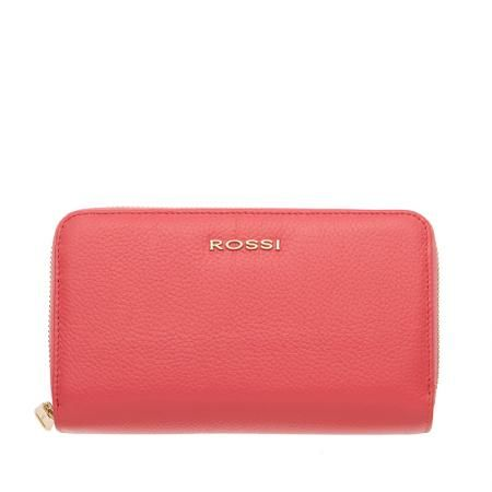 Дамско портмоне с двоен цип цвят Розова Роза Шагрен ROSSI
