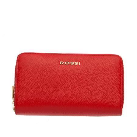 Дамско портмоне с двоен цип цвят Червено Шагрен ROSSI