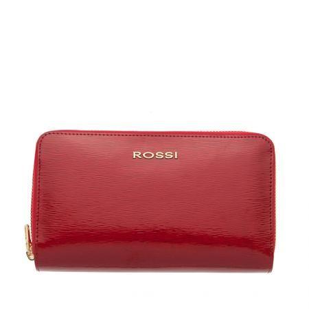 Дамско портмоне с двоен цип цвят Червено Гланц ROSSI