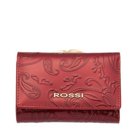 Малко дамско портмоне цвят Червено Гланц с листа ROSSI