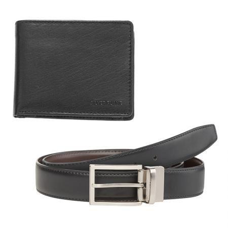 Мъжки комплект портфейл и колан от естествена кожа 115 см SILVER FLAME