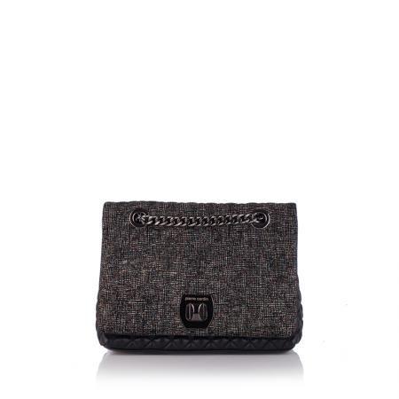 Дамска черна чанта от естествена кожа