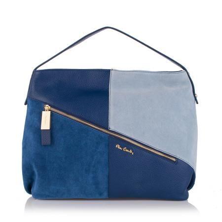 Дамска синя чанта от естествена кожа- Perla