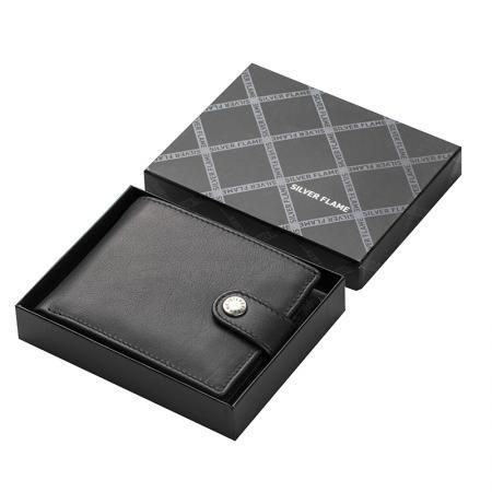 Мъжки портфейл в кафяво SILVER FLAME - колекция Button
