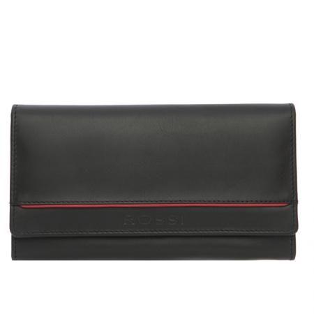 Дамски портфейл в черно с червена лента - ROSSI