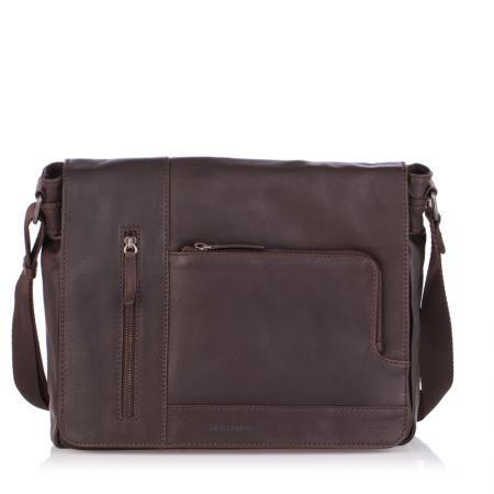 Мъжка стилна чанта тъмно кафява  OILY DIANA - SILVER FLAME
