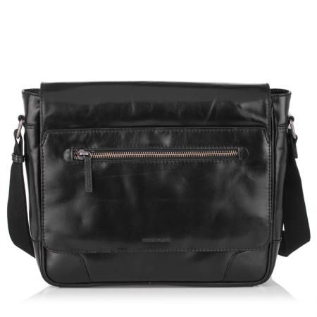 Мъжка черна чанта с цип RIO - SILVER FLAME