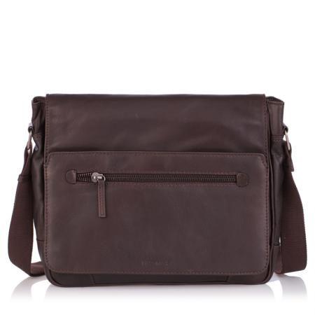 Мъжка чанта тъмно кафява с цип OILY DIANA - SILVER FLAME