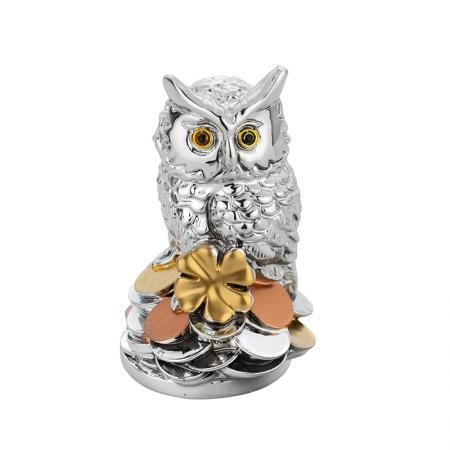 Статуетка сова с монети - 9 см