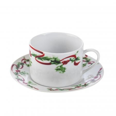 Коледна чаша с чиния Holly Ilex