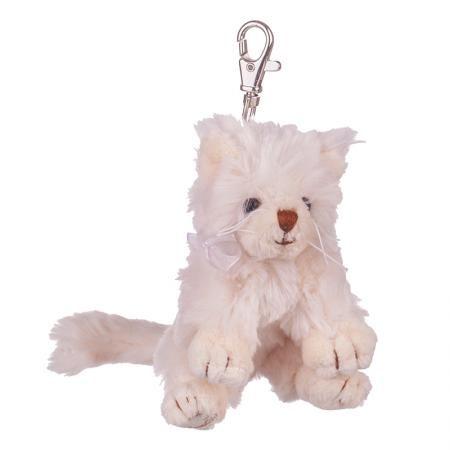 Плюшенa играчка-ключодържател бяла котка