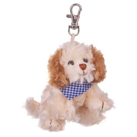 Плюшенa играчка-ключодържател кученце със син шал