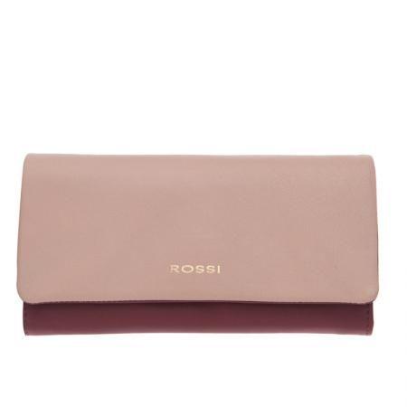 Дамско портмонe цвят Перлено розово и винено червено - ROSSI
