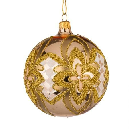 Стъклена златна топка с украшения