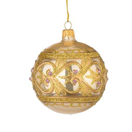 Стъклена златна топка с декорация