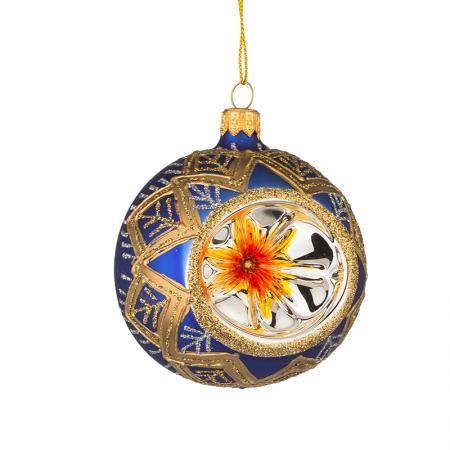 Стъклена синя топка с декорация