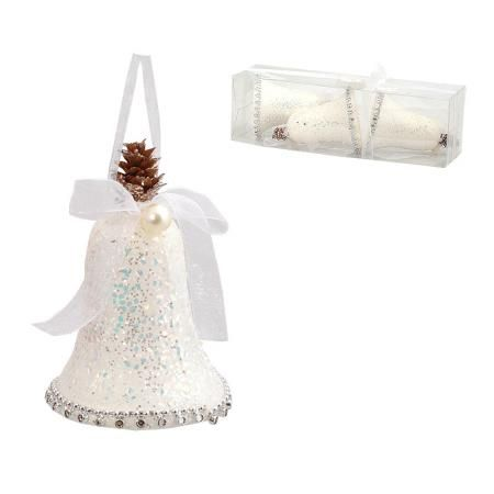 Коледна играчка камбанка бяла