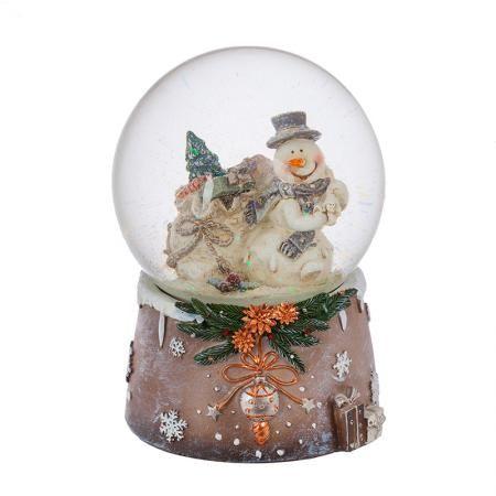 Преспапие Снежен човек с подаръци