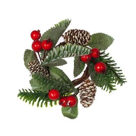 Коледен венец за свещ с боровинки