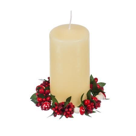 Коледен венец за свещ  гъбки