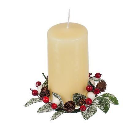 Коледен венец за свещ  бяло/червено