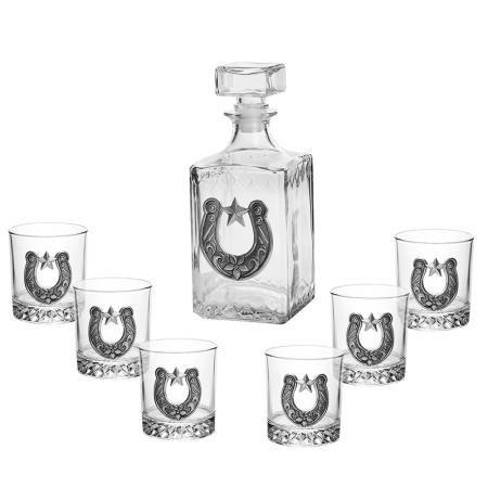 Сет от бутилка + 6 чаши за ракия с подкова