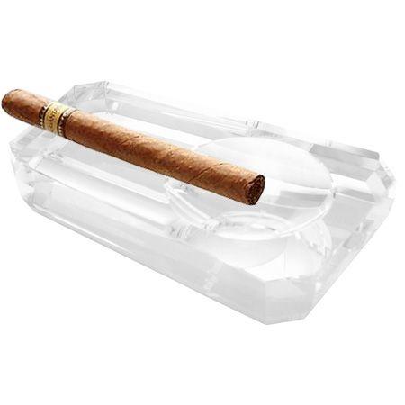 Стъклен голям пепелник за пури SILVER FLAME