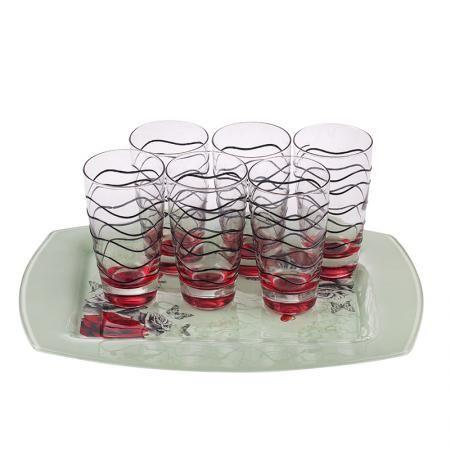 Red rose поднос с 6 чаши за вода
