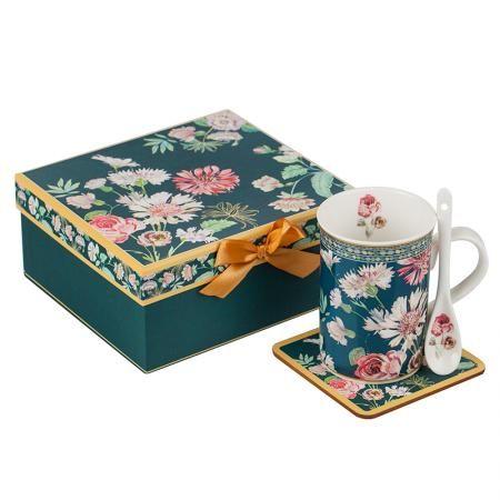 Сет чаша за кафе + кутия - Полски цветя