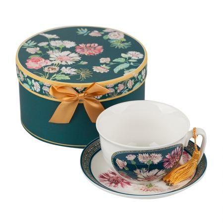 Чаша за кафе + чинийка - Полски цветя