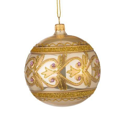 Стъклена златна топка с декорация - голяма