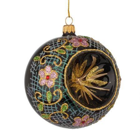 Стъклена топка с цветя - голяма