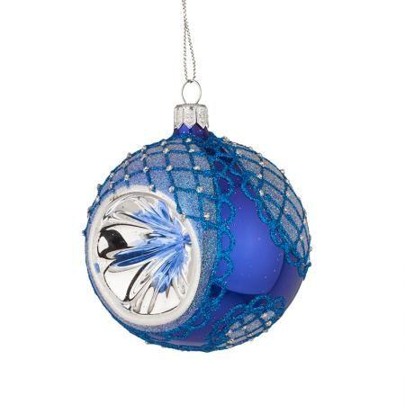 Стъклена синя топка със сребърна декорация