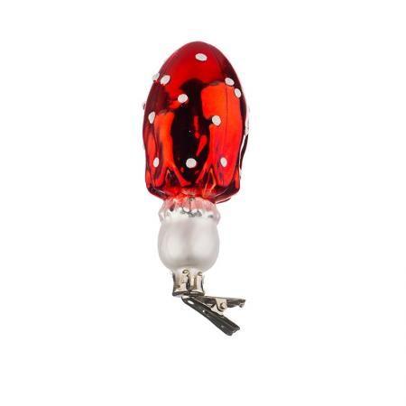 Стъклена играчка гъбка с точици