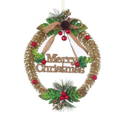 Златен надпис  Merry Christmas с шишарка