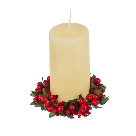 Коледен венец за свещ глог